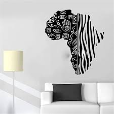 Amazon Com Hisoa Wall Stickers Art Decor Vinyl Peel And Stick Mural Removable Decals African Continent Map Tribal Style Zebra Pattern Decals Decor Living Room Nursery Home Kitchen