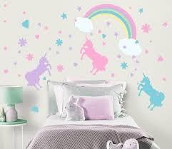 Unicorn Rainbow Wall Decals Girls Room Wall Decor Unicorn Room Decor Wall Decals Girls Room