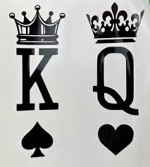 King Queen Spade Heart Crowns Black Vinyl Decal New Gift Etsy