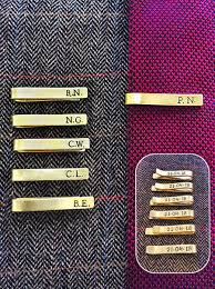hand sted tie clip bar wedding