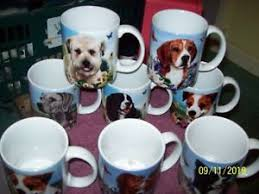 set of 8 dog mugs artist tamara burnett