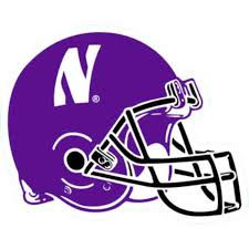 Northwestern Wildcats Outside Application Decal With N Cat On A Full Color Football Helmet Image