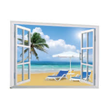 Shop Creative Motion Peel And Stick Diy Decorative Wall Decal With Window View Ocean Beach Palm Tree Beach Chair Fluffy Clouds Sky Overstock 24127459