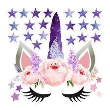 Cute Unicorn Stars Wall Stickers For Girls Bedroom Flowers Wall Decals Walmart Com Walmart Com