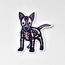 Candy Skull Dog Dia De Los Muertos Vinyl Waterproof Sticker Annotated Audrey
