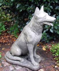 german shepherd dog stone statue
