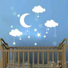 Baby Nursery Moon Star Cloud Wall Sticker Kids Room Nature Space Wall Decal Child Room Bedroom Vinyl Home Decor Wall Art Mural Wish