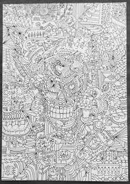 Doodle Skull Met Afbeeldingen Kleuren Tekenen Nummers