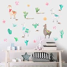 Amazon Com Watercolor Llama Wall Decal Funny Alpaca Sticker For Kids Bedroom Decoration Tropical Cactus Flower Window Cling Decor And Nursery Room Decor 29 Pcs Multicolor Decals Arts Crafts Sewing