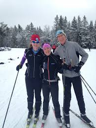 Amie Smith (c) on a ski with her daughter Rebecca (l) and her husband Tom.  (Courtesy photo) - FasterSkier.com