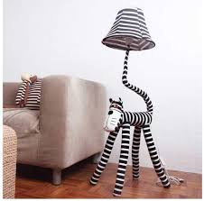 Litfad Dimmable Floor Lamp Cartoon Zebra Design 51 Tall Standing Modern Light With Fabric Shade For Kids Room Bedroom Black And White Amazon Com