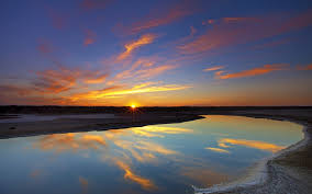 sun river lake reflection sunset sky