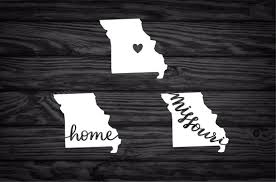 Missouri State Decal With Heart Home Mo Missouri Vinyl Etsy