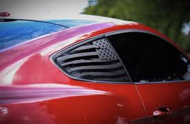 Distressed Quarter Window Flag Decal 2015 2018 Ford Mustang Elevated Auto Styling