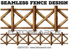 Fence Design With Wooden Fence Clipart K33147721 Fotosearch