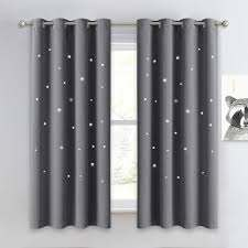 Amazon Com Nicetown Gray Stars Kids Curtains Nap Time Essential Nursery Window Curtains For Kid S Room Super Cute Drape Panels With Die Cut Stars 2 Panels W52 X L63 Inches Grey Home