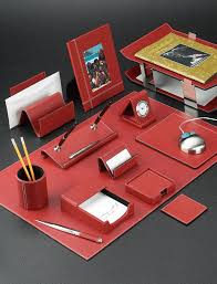 red stitched leather desk accessories