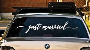 Just Married Decal Car Window Vinyl Letters Newlyweds Just Etsy