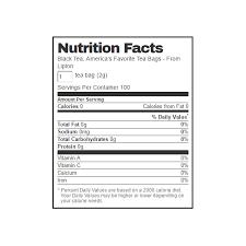lipton tea nutrition label