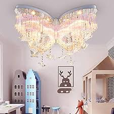 Litfad Modern Art Deco Ceiling Light 31 5 Wide Butterfly Shaped Crystal Raindrop Discoloration Pendant Light Led Flush Mount Fixture For Girls Room Kids Bedroom Study Room Amazon Com