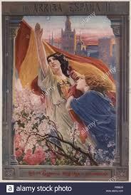 Cartel alegórico del alzamiento nacional de España. Figura ...