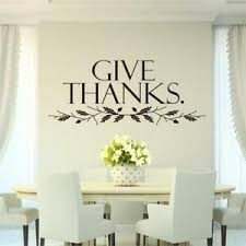 Give Thanks Leaves Kitchen Diner Cafe Religious Quote Vinyl Wall Decal Words Ebay