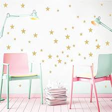 Amazon Com Buckoo Stars Wall Decals 132 Decals Wall Stickers Removable Home Decoration Easy To Peel Stick Painted Walls Metallic Vinyl Polka Wall Decor Sticker For Baby Kids Nursery Bedroom Gold Stars Home