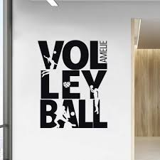 Summer Beach Volleyball Wall Decal Custom Name Sports Girls Room Decor Volleyball Sign Playing Silhouette Vinyl Wall Mural Az524 Wall Stickers Aliexpress