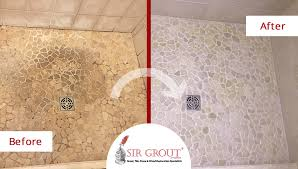 river rock shower floor in cromwell ct