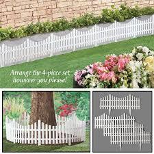 Flexible White Picket Fence Garden Border 4pcs Walmart Com White Picket Fence White Picket Fence Garden Garden Fencing