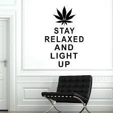 Maple Leaf Wall Decal Weed Stay Relaxed And Light Up Quotes Vinyl Wall Sticker Bedroom Office Interior Art Decoration S705 Wall Stickers Aliexpress