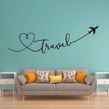 Large Travel Say Quote Airplane Heart Wall Sticker Kids Room Bedroom Travel World Plane Sky Wall Decal Living Room Office Vinyl Wall Stickers Aliexpress