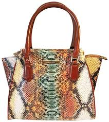 Brahmin Priscilla Mini Hansen Ombre Snake Brown Leather Satchel - Tradesy