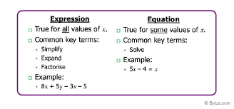 algebraic equations definition types