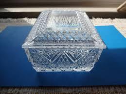 glass trinket cigarette vintage lidded box