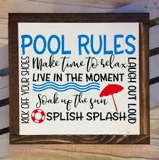 Pool Rules Vinyl Lettering Stickers Wall Art Decals Summer Quotes