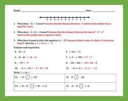 absolute value practice worksheet