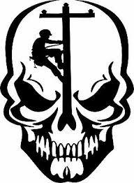 Skull Lineman Electrician Power Pole Car Truck Window Laptop Vinyl Decal Sticker Ebay