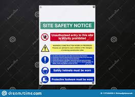 Building Site Construction Safety Notice Sign On Fence Stock Photo Image Of Assessment Footwear 137346558