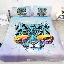 purple green blue bedding leopard duvet