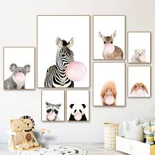 Panda Giraffe Elephant Baby Animal Posters For Kids Room Zebra Nursery Canvas Poster Animals Picture For Kids Room Wall Art Painting Calligraphy Aliexpress