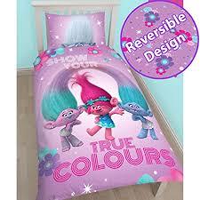 Kids Bedding Trolls Glow Single Duvet Quilt Cover Set Girls Kids Pink Bedroom