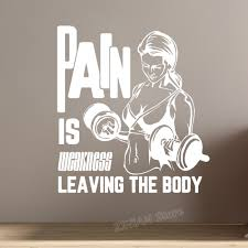 Pain Is Weakness Leaving The Body Vinyl Quote Wall Decal For Walls Or Windows Gym Wall Stickers Fitness Bedroom Decals Z858 Wall Stickers Aliexpress