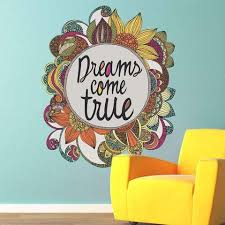 Floral Quote Art Wall Sticker Decal Dreams Come True By Valentina Ha