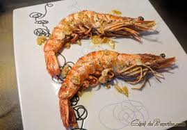 grilled jumbo black tiger prawns with
