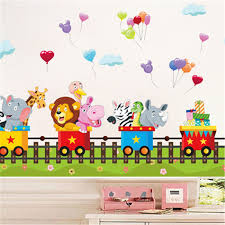 Cartoon Jungle Wild Animal Train Wall Stickers For Kids Room Home Decor Bedroom Sofa Wall Decals Adesivo De Parede Sticker For Kids Room Train Wall Stickerwall Stickers For Kids Aliexpress