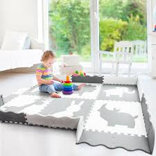 Large Foam Baby Play Mat With Fence 55 9x55 9x0 4