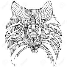 Decoratieve Hond Hoofd Zwart En Wit Abstracte Snuit Hond Patroon