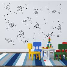 Outerspace Planet Galaxy Space Ship Stars Boys Room Vinyl Wall Decal Sticker The Decal Guru