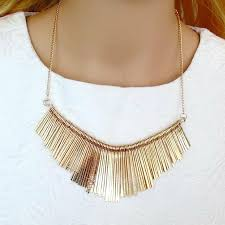 charm gold tassels pendant choker
